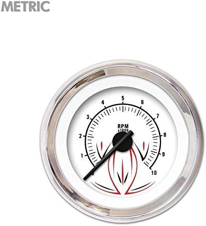 Aurora Instruments Pinstripe II White Tachometer Gauge GAR2116ZMXIABCC