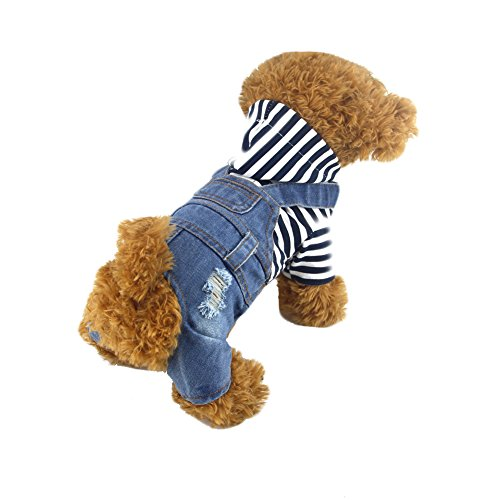 DOGGYZSTYLE Pet Dog Cat Clothes Blue Striped Jeans Jumpsuits One-piece Jacket Costumes Apparel Hooded Hoodie Coats for Small Puppy Medium Dogs (M, Blue) by DOGGYZSTYLE