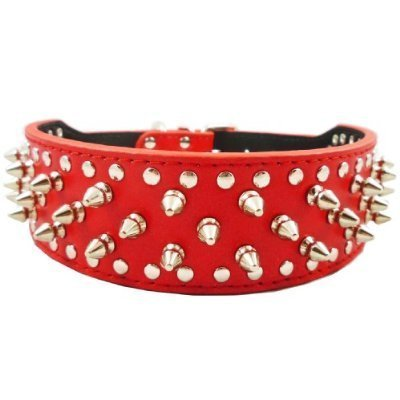 "19""-22"" Red Faux Leather Spiked Studded Dog Collar 2"" Wide, 37 Spikes 60 Studs"