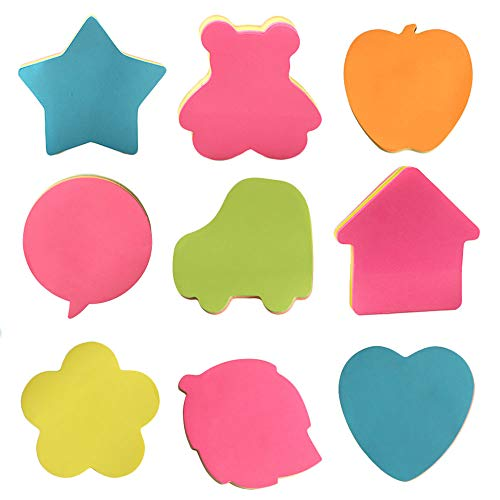 Self-Stick Notes, Bright Color Self-Adhesive Removable Shaped Sticky Note-9 Pads Per Pack-100 Sheets Per Pad-Per Pad 5 Colour-Per Pack 9 Different Shapes Inside-76mm x 76 mm