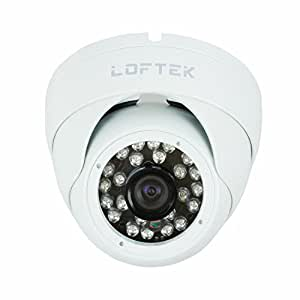 LOFTEK Conch-shaped dome 24 Infrared LEDs Day/Night Vision Security CCTV Camera Color CCD Video camera Sony Chip 420TVL(High Quality Chip, is equal to 800TVL), 3.6mm Wide View Angle Lens. built with high-quality metal housing . White.