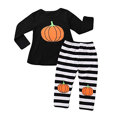 MILWAY Halloween Baby Pumpkin Clothes Set Long Sleeve Romper + Striped Pants Outfits Kids Clothing (110/3-4years, Multicoloured)]()