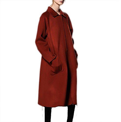 Cara Doble Rust Cachemira Capa Rompevientos Collar Red De Lana Chaqueta Muñeca Mujeres Otoño Desgastar Invierno Espesamiento d56qTxXdw