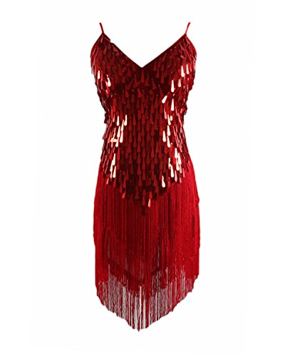 Syne Sun Women's 1920s Gatsby Art Deco Tassel Fringe Sway Flapper Costume Dress (Red) -