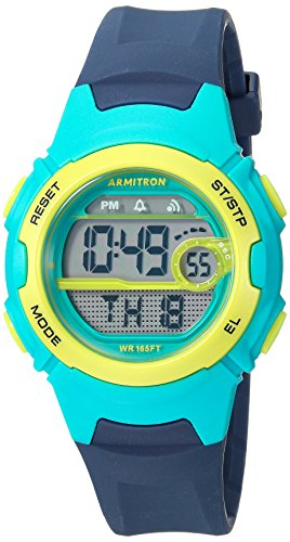 Armitron Sport Women's 45/7088NVY Teal and Lime Green Accented Digital Chronograph Navy Blue Resin Strap Watch -