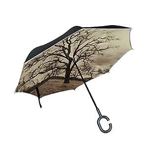 Double Layer Inverted Tree Oak Oak Tree Sepia Western Nature Wood Umbrellas Reverse Folding Umbrella Windproof Uv Protection Big Straight Umbrella for Car Rain Outdoor with C-Shaped Handle