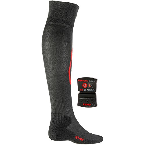 Lenz Heated Socks 5.0 Toe Cap + Lithium Pack rcB 1200 - Black Medium