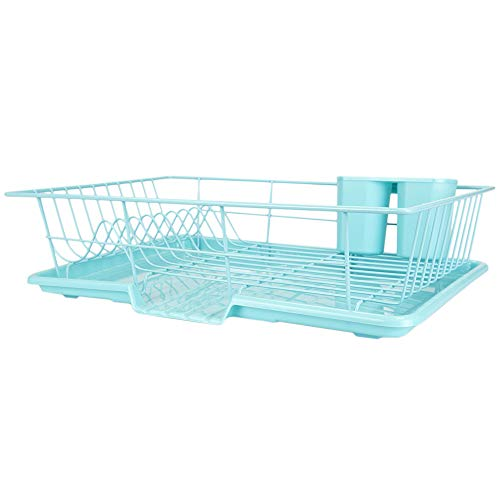 Home Basics DD47451 3-Piece Set (Turquoise) Dish Drainer, 19