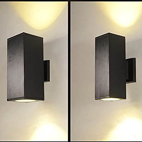 Luminturs pack of 2 24w led e27 bulb globe included square wall luminturs pack of 2 24w led e27 bulb globe included square wall sconces outdoor up aloadofball Image collections