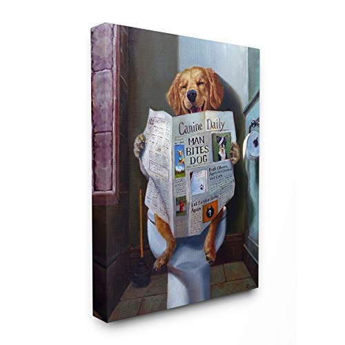 Stupell Industries Dog Reading The Newspaper On Toilet Funny Painting Canvas Wall Art, 16 x 20, Design by Artist Lucia Heffernan