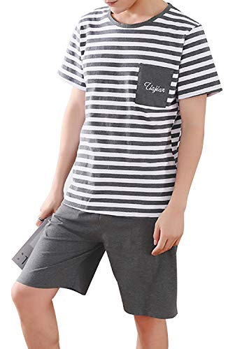 Summer Stripe Teen Boys Top and Shorts PJS Set Loungewear Snug-Fit -