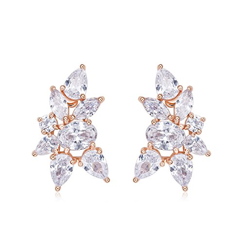 Incaton Rose Gold Cluster Stud Earrings-Cubic Zirconia Bridal Wedding Earrings-Jewelry for Christmas Gift by Incaton