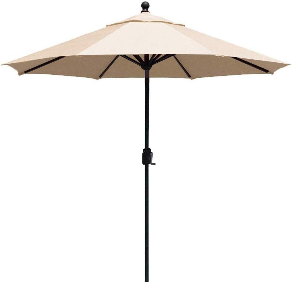 EliteShade FadeSafe 9ft Patio Umbrella Outdoor Table Market Umbrella with Push Button Tilt and Crank with Ventilation, Beige