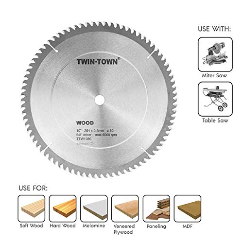 TWIN-TOWN 10-Inch Saw Blade, 80 Teeth,General Purpose for Soft Wood, Hard Wood & Plywood, ATB Grind, 5/8-Inch Arbor (Table Hard Wood)