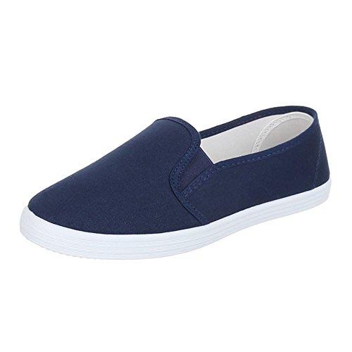 Ital-Design Damen Schuhe, FC16-V11, Halbschuhe Moderne Slipper Blau