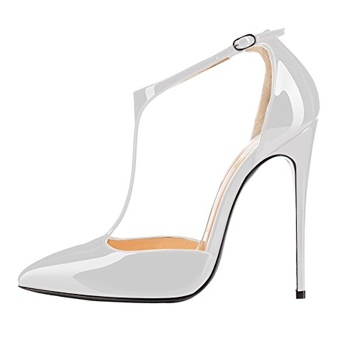 Sammitop Women's Wedding Pumps Bridesmaid Dress Shoes 120mm High Heel T-atrp Shoes Prom Shoes White US11.5
