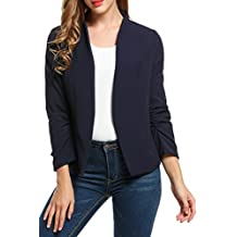 Meaneor Women Casual Thin Open Front Blazer Basic Work Ruched Sleeve Crop Jacket