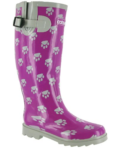 Cotswold womens Cotswold Ladies Dog Paw Patterned Rubber Welly Wellington Boot Pink Purple&Silver Rubber UK Size 8 (EU 42) by Cotswold