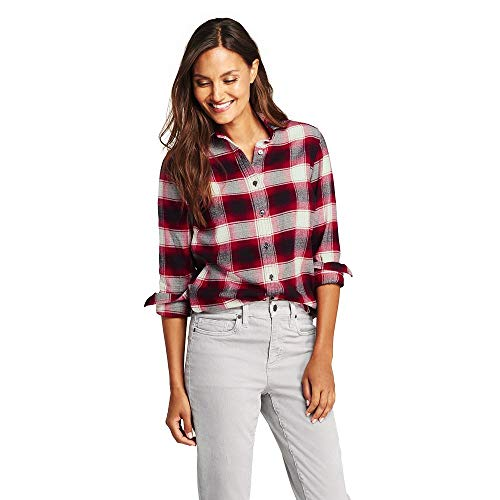 Lands' End Women's Petite Flannel Shirt, 8, Rich Red/Black Plaid ()