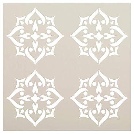 Amazon.de: Mandala - Pik - 4 Fliesen Muster Schablone von ...