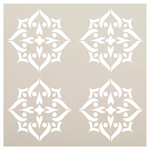 Mandala - Spades - 4 Tile Pattern Stencil by StudioR12 | Reusable Mylar Template | Use to Paint Wood Signs - Pallets - Pillows - Wall Art - Floor Tile - Select Size (12