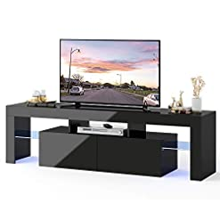 Living Room WLIVE Modern LED TV Stand for 65 Inch TVs with Color Change Lighting, Universal Entertainment Center for Video Gaming… modern tv stands