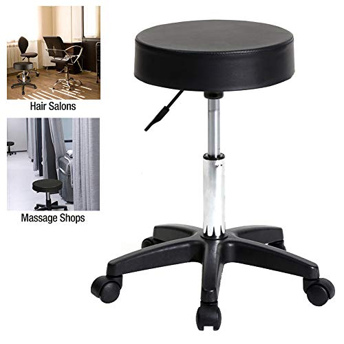 (Swivel Bar Stool,Pu Leather Chair Adjustable Standing Seat Pub Stool Black Footrest Rolling Tattoo Facial Massage Spa Salon Hydraulic Chair Seated With Casters Wheel )
