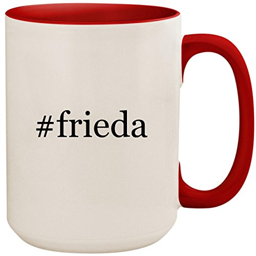 Price comparison product image #frieda - 15oz Ceramic Colored Inside and Handle Coffee Mug Cup, Red