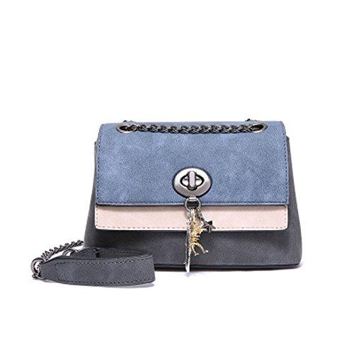 ZCM Ketten-Schulter-kleine Tasche Neue Tasche der Frauen-Bote-Mädchen-Farbabgleich-Reihen-kleine Tasche - drei färben wahlweise freigestellt Blau