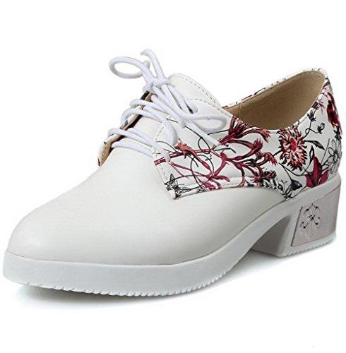 AllhqFashion Damen Gemischte Farbe PU Mittler Absatz Schnüren Rund Zehe Stiefel, Rot, 36