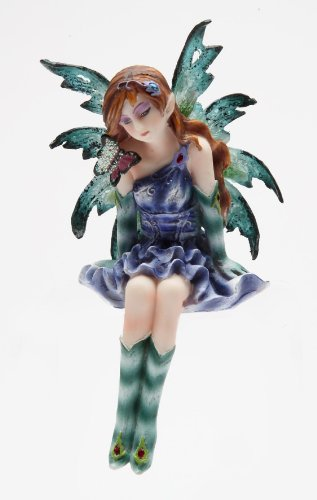 4 Inch Purple and Green Fairy Sitting on a Shell Statue Figurine ()