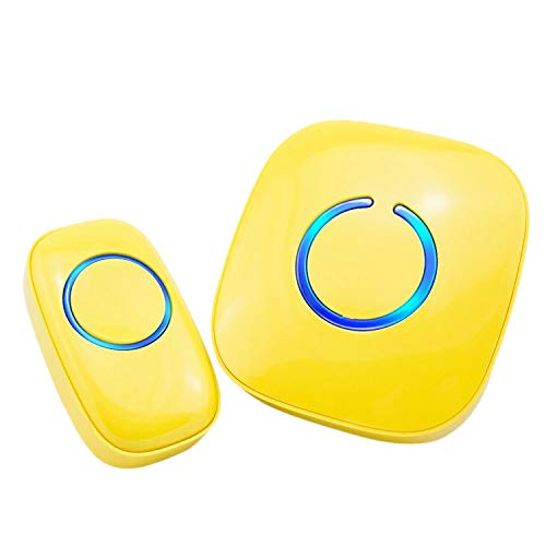 SadoTech Model C Wireless Doorbell Operating at over 500-feet Range with Over 50 Chimes, No Batteries Required for Receiver, (Yellow)