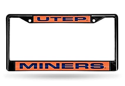 Black Rico Industries NCAA Laser Cut Inlaid Standard Chrome License Plate Frame