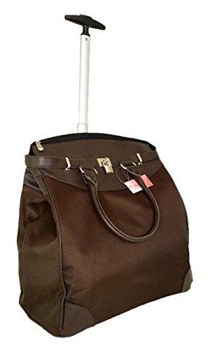 "Trendy Flyer 19"" Computer/Laptop Rolling Bag 2 Wheel Case (Plain Brown)"