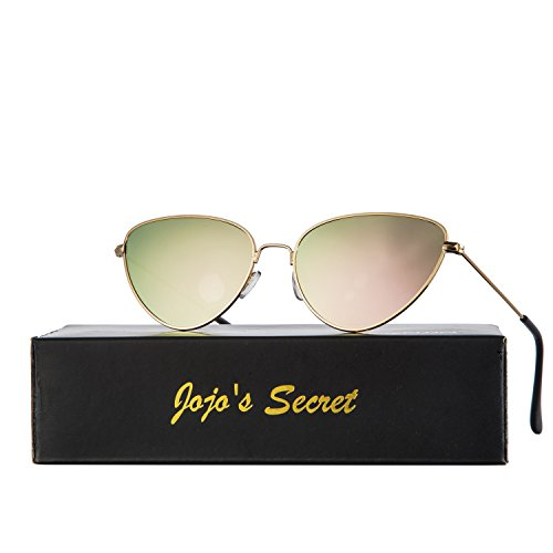 JOJO'S SECRET Cat Eye Mirrored Sunglasses,Colorful Lens Sunglasses For Women JS002 (Gold/Pink, - Colorful Lens