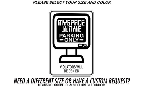 myspace-junkie-parking-only-sign-car-wall-decal-sticker-vinyl-white-glossy-18-max-length
