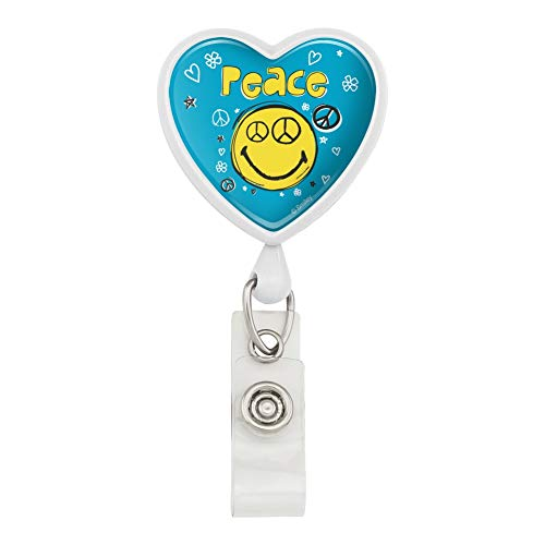 (Peace Eyes Smiley Face with Flowers and Stars Officially Licensed Heart Lanyard Retractable Reel Badge ID Card Holder - White)