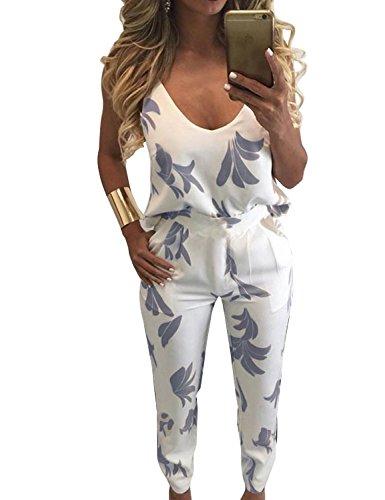 FANCYINN Women 2 Pieces Outfit Jumpsuit Floral Print Top + Long Pants Blue L