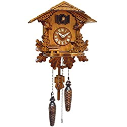 Alexander Taron Importer 436QM Engstler Battery-Operated Cuckoo Clock-Full Size-10.5 H x 9.75 W x 6 D, Brown