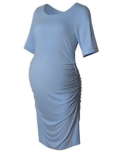 Maternity Bodycon Dress Short Sleeve Ruched Sides Knee Length Shirred Dress