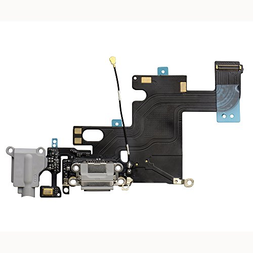 COHK Brand New iPhone 6 Lightning Connector and Headphone Jack Flex Cable Replacement (Gray)