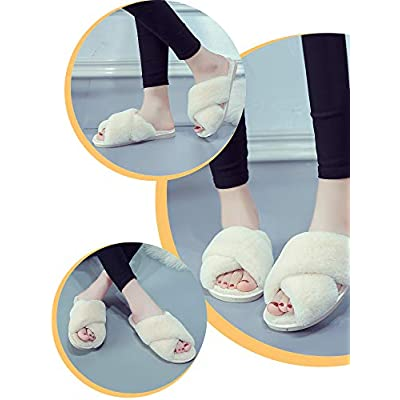 2 Pairs Women's Cross-Band Slippers Plush Open Toe Slippers Soft Fleece Home Outdoor Slippers | Slippers