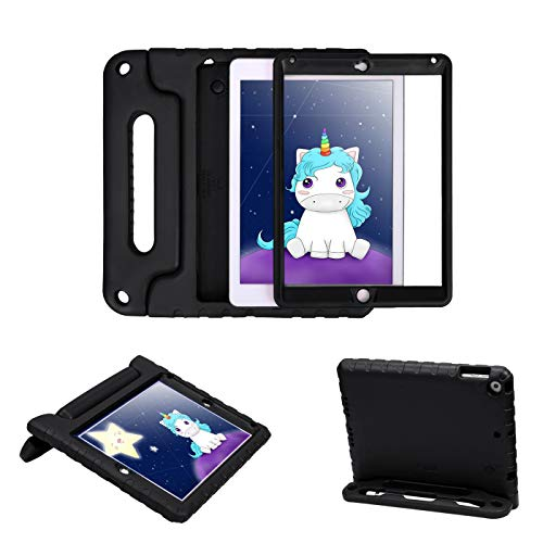 New Hard Protector Case - HDE Case for iPad 9.7-inch 2018 / 2017 Kids Shockproof Bumper Hard Cover Handle Stand with Built in Screen Protector for New Apple Education iPad 9.7 Inch (6th Gen) / 5th Generation iPad 9.7 - Black