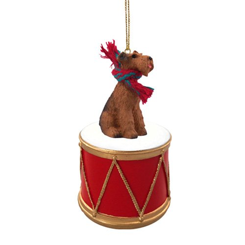 Little Drummer Airedale Terrier Christmas Ornament - Hand Painted - Delightful by Animal Den