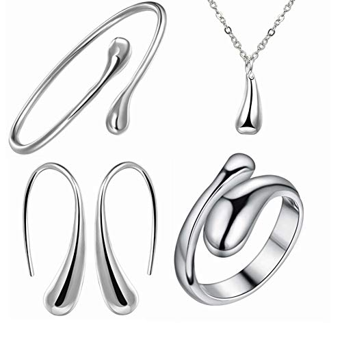 (925 Silver Water Drop Earrings Necklace Bracelet Ring Four-Piece Set)