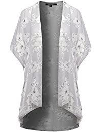 Women's Open Front Short Sleeves Floral Print Cardigan