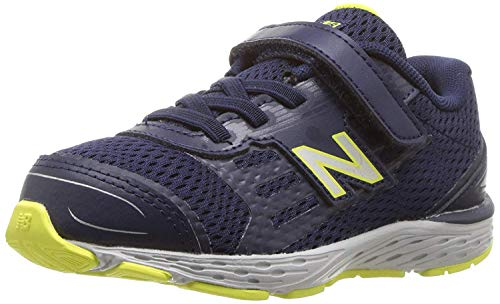 New Balance Boys' 680v5 Hook and Loop Running Shoe, Pigment, 2 XW US Infant