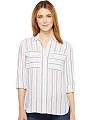 Two by Vince Camuto Womens Long Sleeve Stripe Relaxed Linen Shirt
