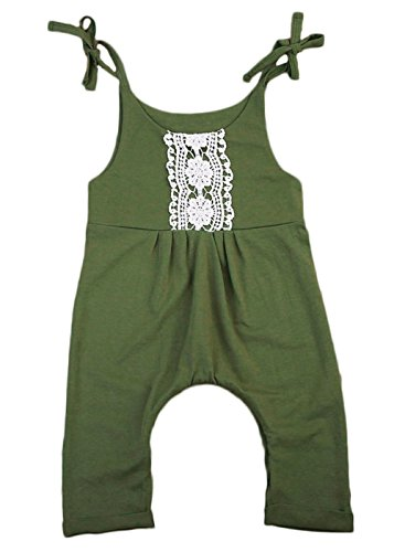 Baby Girls Green Halter Lace One-pieces Romper Sleeveless Jumpsuit Sunsuit Outfit Clothes (0-6M, Green)
