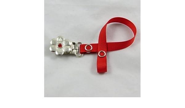 Chupete Chupete Chupete clip de soporte para bebé niña (Rojo ...